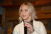 Jennifer Lawrence wore her short locks in a messy-chic style during the Women in Film pre-Oscar party.