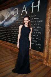 Emma Watson cut a svelte and sophisticated figure in this sleeveless navy Wes Gordon gown during the Berlin premiere of 'Noah.'