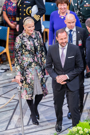Princess Mette-Marit looked ladylike in a floral coat at the Nobel Peace Prize.