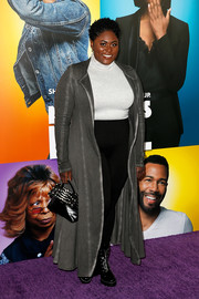 Danielle Brooks topped off her look with a gray duster.