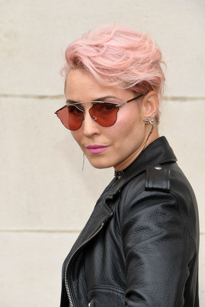 Noomi Rapace Messy Cut [eyewear,hair,face,sunglasses,cool,hairstyle,glasses,blond,chin,jacket,summer 2018,dior homme,noomi rapace,front row,spring,part,paris,paris fashion week,show,dior homme menswear spring]