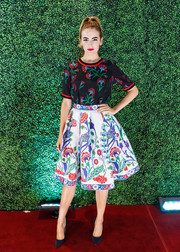 Camilla Belle rocked clashing patterns so stylishly with this Andrew Gn embroidered skirt and top combo.