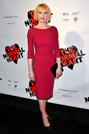 Ellen donned a tight red cocktail dress for the opening night of 'The Normal Heart.'