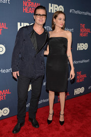 Angelina Jolie donned a simple yet sophisticated strapless LBD by Saint Laurent for the premiere of 'The Normal Heart.'