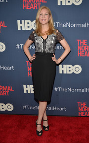 Jennifer Westfeldt looked very feminine at the premiere of 'The Normal Heart' in a black cocktail dress with a lace bodice.