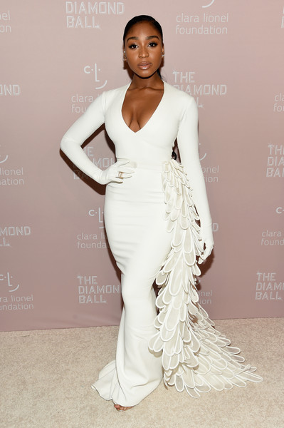 Normani Form-Fitting Dress [fashion model,clothing,dress,white,gown,shoulder,fashion,hairstyle,beauty,lady,rihanna,normani,new york city,cipriani wall street,the clara lionel foundation,diamond ball benefitting the clara lionel foundation - arrivals]