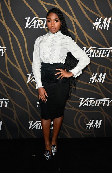 Normani Kordei Ruffle Blouse [clothing,fashion,dress,shoulder,joint,footwear,fashion design,formal wear,cocktail dress,shoe,variety power of young hollywood - arrivals,tao hollywood,los angeles,california,normani kordei]