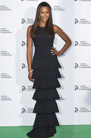 Naomi Campbell looked simply statuesque at the Novak Djokovic dinner where she wore this tiered, black gown.