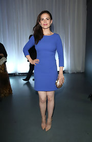 Hayley Atwell kept it simple and chic with a periwinkle, fitted dress.