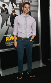 Jeremy Jordan's lavender button down looked super light and summery when paired with a gray plaid tie.