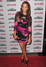 Amber showed off her long brown locks while walking the red carpet at the Nylon party.
