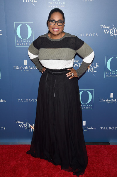 Oprah Winfrey kept cozy in a tricolor crewneck sweater at the special NYC screening of 'A Wrinkle in Time.'