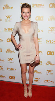 Katie wore a body con cocktail dress with a sheen and subtle pattern to the OK! Magazine Oscars party.