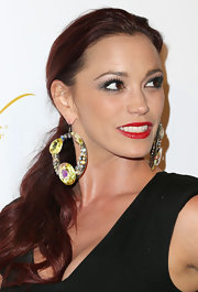 Jessica Sutta wore a pair of citrine and gemstone studded hoop earrings for the pre-Grammy party.