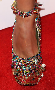 Jessica Sutta rocked a pair of gemstone studded platform pumps at the OK Magazine pre-Grammy party.