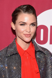 Ruby Rose wore her short hair with slicked-back sides and a pompadour top at the ONE Campaign and (RED) concert to mark World AIDS Day.