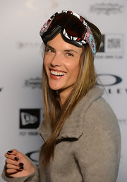 Doesn't Alessandra make the cutest snow bunny? The model wore her hair stick-straight for a ride down the slopes.