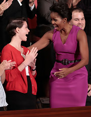 Michelle Obama's sheath dress and gemstone belt were a flawless pairing.