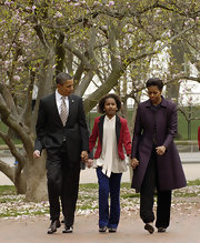 Michelle Obama wore this eggplant coat for church service with her family.