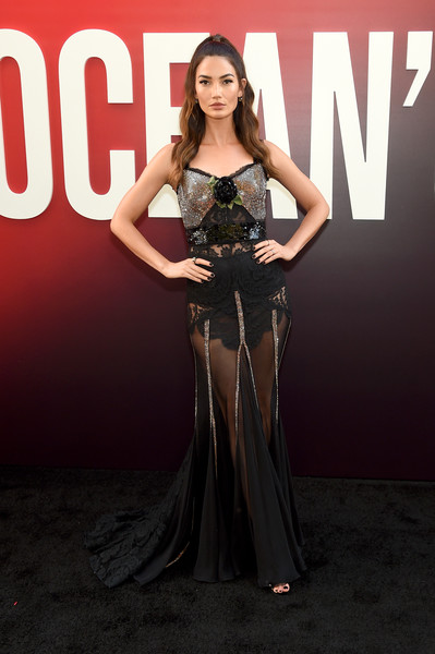 Lily Aldridge sizzled in a sheer black and silver gown by Dolce & Gabbana at the world premiere of 'Ocean's 8.'