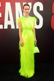 Sarah Paulson lit up the black carpet with her fringed neon-green Prada gown at the world premiere of 'Ocean's 8.'