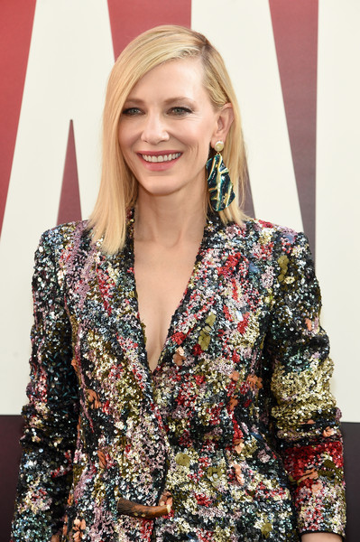 More Pics of Cate Blanchett Pantsuit (1 of 20) - Cate Blanchett Lookbook - StyleBistro [hair,clothing,hairstyle,blond,outerwear,fashion,long hair,blazer,jacket,premiere,cate blancett,world premiere,oceans 8,new york city,alice tully hall]