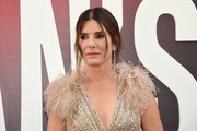 Sandra Bullock styled her hair into a loose center-parted ponytail for the world premiere of 'Ocean's 8.'
