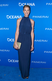 Kelly Lynch attended the Oceana: Sting Under the Stars event looking elegant in a draped blue halter gown.