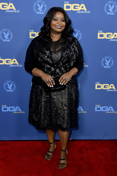 Octavia Spencer Patent Leather Clutch [clothing,carpet,red carpet,premiere,electric blue,event,flooring,dress,arrivals,octavia spencer,directors guild of america awards,hollywood highland center,the ray dolby ballroom,california]