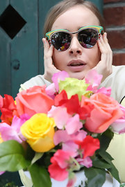 Olga Sorokina showed off a pair of quirky cateye shades while posing for pictures in LA.