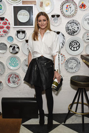 Olivia Palermo's Diesel Black Gold leather mini worked perfectly with her white shirt!