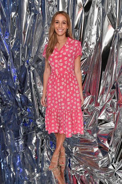 Harley Viera-Newton cut a sweet figure in a pink floral shirtdress at the Nine West Throwback 40th anniversary celebration.