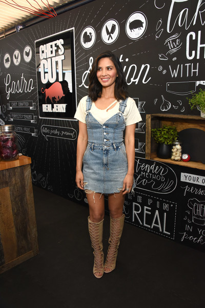 Olivia Munn Denim Dress [clothing,fashion,footwear,knee,joint,street fashion,leg,denim,dress,t-shirt,olivia munn,chefs cut real jerky,california,los angeles,event,event,national jerky day]