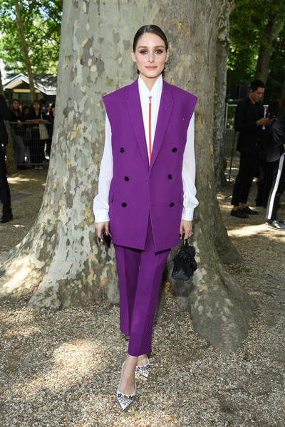 Olivia Palermo Evening Pumps [suit,clothing,fashion,pantsuit,purple,formal wear,gentleman,haute couture,outerwear,male,olivia palermo,front row,spring,part,berluti menswear spring summer 2020,paris,france,berluti,paris fashion week,show,olivia palermo,paris fashion week,berluti,fashion,paris,model,fashion week,fashion model,fashion show]