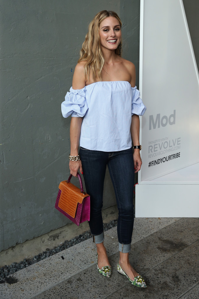 978f0f2608 Olivia Palermo finished off her ensemble with a playfully chic color-block  crocodile tote by