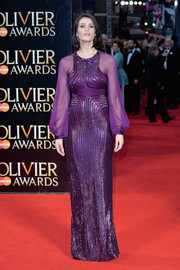 Gemma Arterton looked like royalty in her beaded purple Jenny Packham gown during the Olivier Awards.