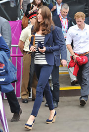 Kate heightened her Olympic look with these chambray cork wedges.
