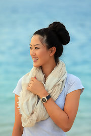 Michelle Wie contrasted her casual outfit with an elegant bun at the Omega Dubai Ladies Masters.