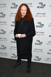 Grace Coddington wore a classic black duster coat to the 'On The Road' premiere.
