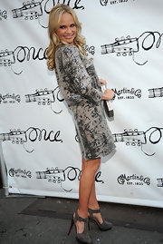 Kristin Chenoweth attended the Broadway premiere of 'Once' wearing a pair of gray suede T-strap heels.