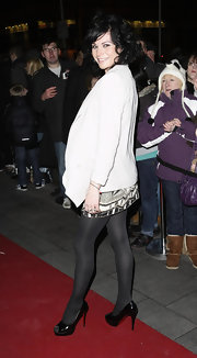 Black peep-toe pumps like Lucy Pargeter's are a surefire way to achieve a classic finish.