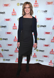 Christine Lahti paired a navy, cropped cardigan with a little black dress for a simple and sophisticated look.