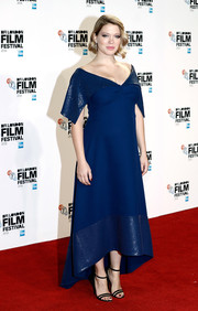 Lea Seydoux looked downright elegant in a blue off-the-shoulder maternity dress by Louis Vuitton at the BFI London Film Festival special screening of 'It's Only the End of the World.'