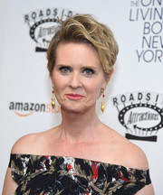 Cynthia Nixon attended the premiere of 'The Only Living Boy in New York' wearing a mussed-up short 'do.