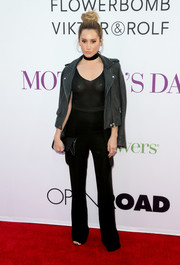Ashley Tisdale suffered a bit of a wardrobe malfunction at the 'Mother's Day' premiere when she wore this sheer black tank top.