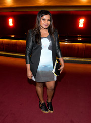 Mindy Kaling was edgy-chic in a black leather-sleeve blazer at the Opening Ceremony Spring 2015 show.