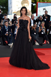 Liya Kebede channeled her inner princess in a black Alberta Ferretti strapless gown, featuring a mock-feather bodice and a floor-sweeping skirt, at the Venice Film Festival opening ceremony.