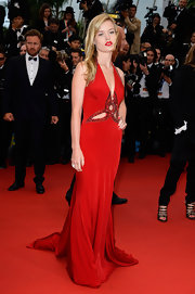 Georgia May Jagger's blood red gown featured elegant beaded detailing and cutouts for a totally classic red carpet gown.