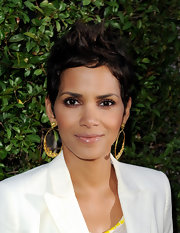 Halle Berry wore gilded hoops that really stood out when paired with her choppy pixie cut.