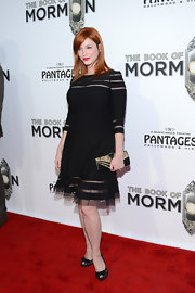Christina went for a sober look at the opening night of 'The Book of Mormon' in this black dress with sheer inset.